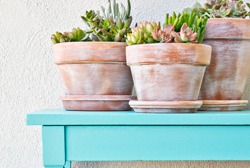 Faux weathered DIY garden pottery