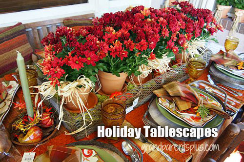 DIY Decorating a Thanksgiving table with garden pottery