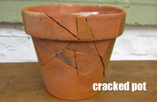 Repair a cracked garden container