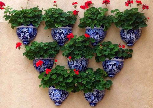Garden Wall Pots full of Geraniums