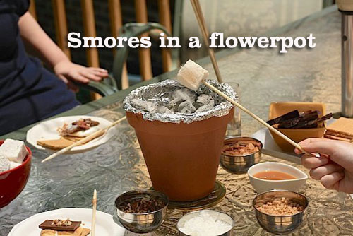How to make smores using a flowerpot