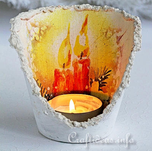 DIY Turn a Flowerpot into a candle for Chiristmas