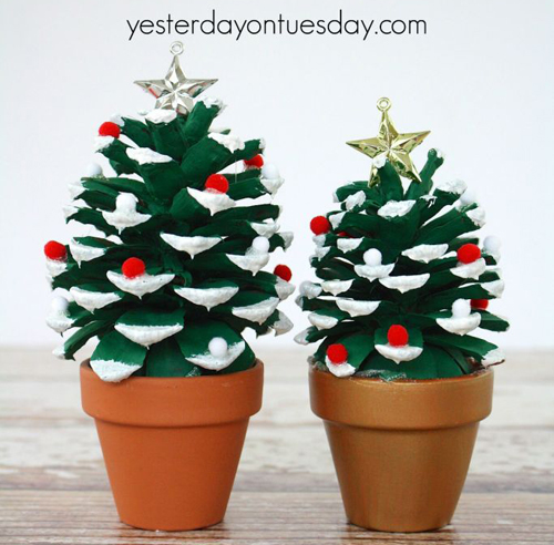 DIY Pinecone Christmas Tree Project using flowerpots