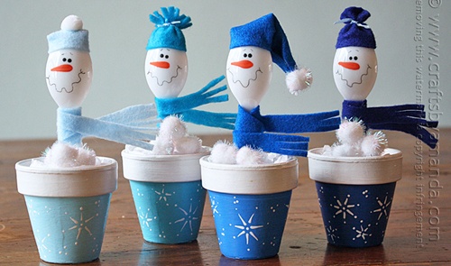Turn a plastic spoon into a snow man in a flowerpot