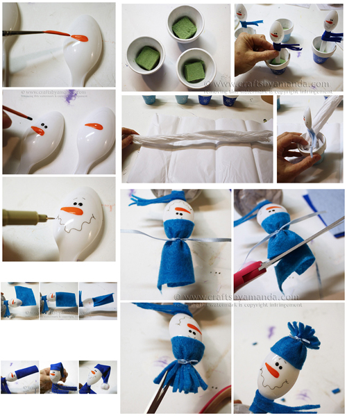 Craft idea for Christmas Snowman flowerpots