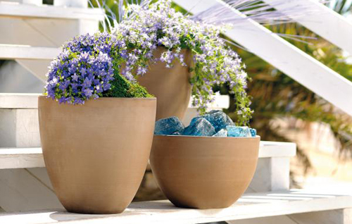 White terracotta clay garden planters