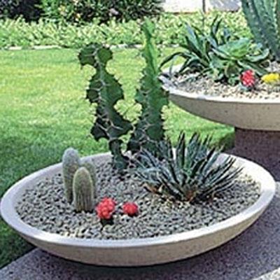 Concrete Low Wok Pot American Made Planters Pottery Style