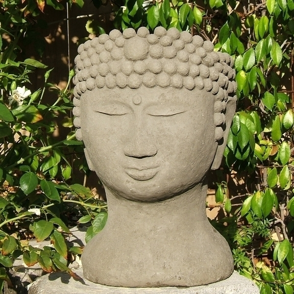 Buddha Head Shaped Flower Pots Made Of Concrete 5 Colors