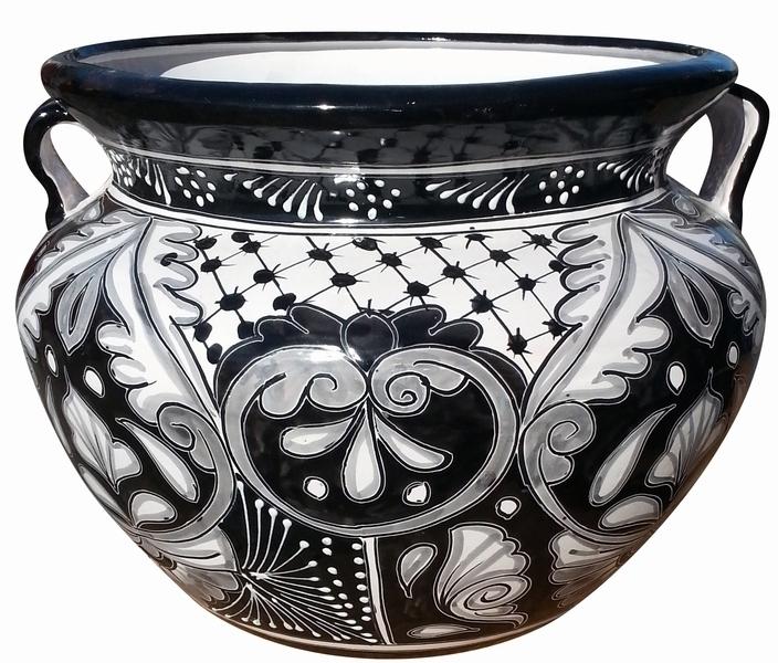 Black And White Talavera Michoacana Fat Pot With Handles Made In - Black and white talavera tile