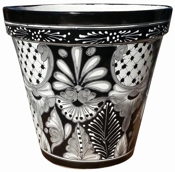 Mexican Talavera Flower Pots In Black And White Arizona