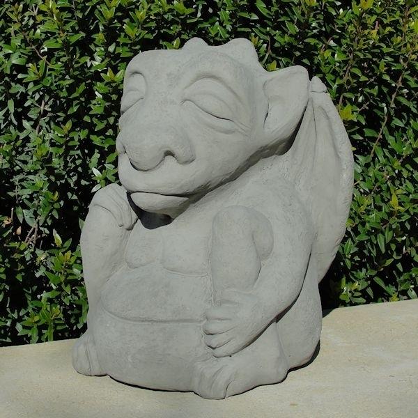 Concrete Meditating Gargoyle Garden Statue