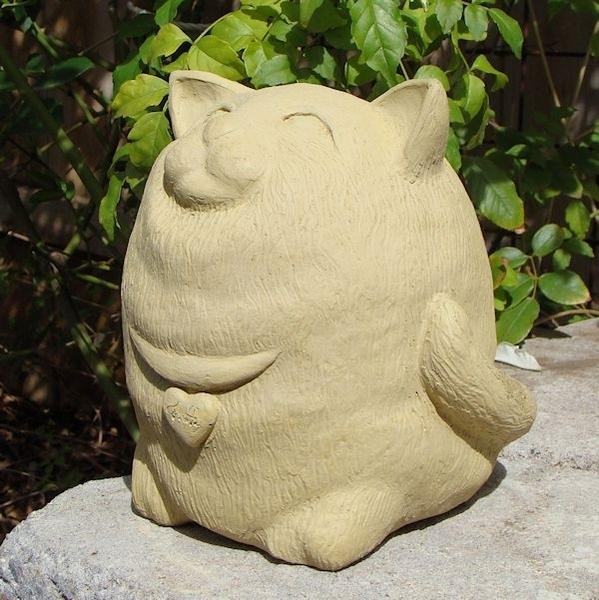 Concrete Fat Barn Cat Garden Statue