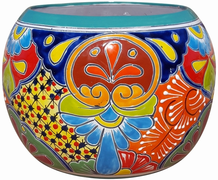Talavera Round Bule Turquoise Rim Mexican Pots Pottery Flowerpots Containers