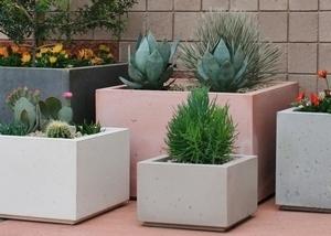 Concrete Modern Tall Cube Pots
