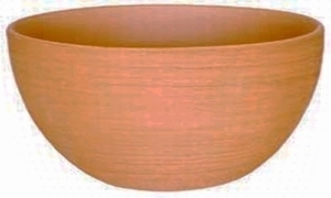 Mexican Terracotta Brushed Low Bowl - Deep Brushed Planter | Made in Mexico | Real Clay Terracotta Pottery