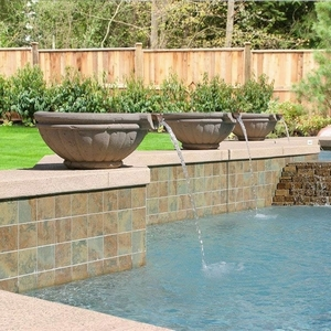 Concrete Tuscany Scupper Pool Pot - Concrete Pool Water Pots | Scuppers Pool Pots | Roman Style Shaped Scupper Pots |  15 Colors | 2 Finishes | Made in America | Arizona Pottery