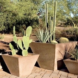 Concrete Tall Oblique Pot - Concrete Tall Square Garden Pottery & Pots | American Made | 15 Colors