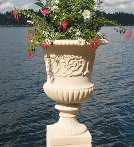 Sandstone French Vase - French Garden Urn | Sandstone Pottery Made in America | 5 Color Choices | Ship Nationwide