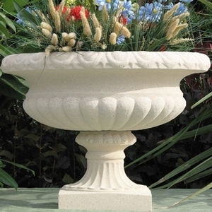 Sandstone Tudor Vase - Beautiful Garden Urn Made in America.  Sandstone Landscaping Pottery | 5 Color Choices | Outdoor Planters