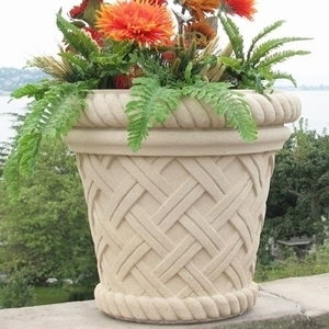 Sandstone Vicenza Basket - Sandstone Basketweave Garden Pottery & Planters | American Made | Ships Nationwide | 5 Colors | Many Styles