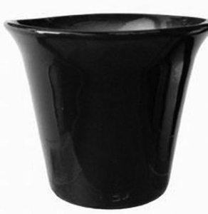 Spanish Garden Planter #1 Gloss Black - Colorful Flower Pots & Garden Pottery | Spanish Style Planters | Flared Top with Tapered Base | Black Garden Container | Arizona Pottery