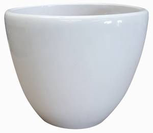 Liberty Bell Garden Planter #2 Gloss White - High-Fired White Glazed Flower Pots | Arizona Pottery