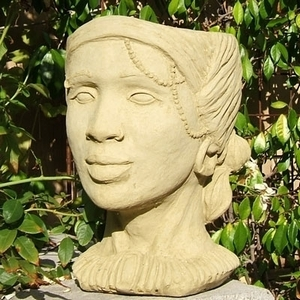 Concrete African Queen Head Planter - Africian Queen Garden Planter | Original Design | 5 Colors | Made in America | Ships Nationwide | Detailed Home and Garden Pottery | Head Planter | Human Head Garden Planter | Planter looks like a human head