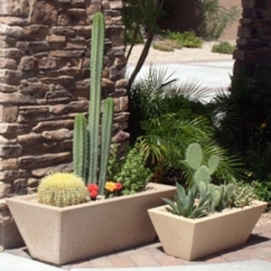 Concrete Oblique Rectangle - Concrete Tapered Rectangle Planters & Pots - American Made | Durable