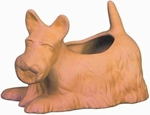 Mexican Terracotta Scotty Planter - Terracotta clay flowerpot shaped like a scotty dog.  Made of clay.