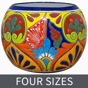 Talavera Round Bule Blue Rim - Round Garden Bowl | Hand Painted | Made in Mexico | Bold Bright Colors