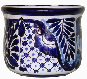 Talavera Flair Tulipan Blue/White - Flowerpot shaped like a tulip | Made In Mexico | Hand Painted Talavera