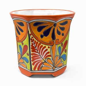 Talavera Octagon Traditional Orange - Flowerpot from Mexico | Octagon shaped | Hand Painted | Arizona Pottery