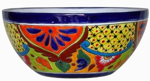 Talavera Half Michoacana Bowl Blue Rim - Garden Bowl | Hand Painted Talavera | Made in Mexico | Flowerpots