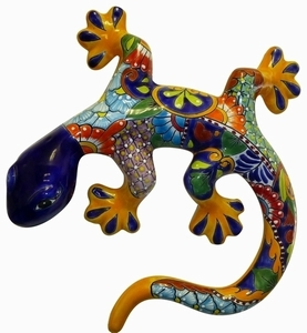 Talavera Blue Gecko - Gecko Wall Art | Made in Mexico | Colorful Hand Painted Talavera