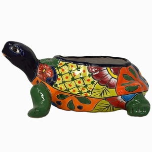 Talavera Turtle Piedra Blue - Turtle Garden Pottery | Hand Painted | Talavera Turtle Planter