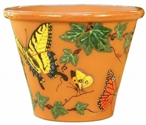Butterfly & Ivy Hand Painted - Hand Painted Garden & Animal Design Pottery | Durable | Colorful | Beautiful | Great Gifts