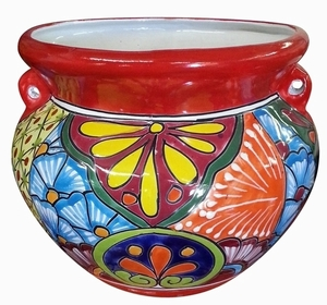 Talavera Michoacana Traditional Red - Red garden planter hand painted in the Talavera, Imported from Mexico.