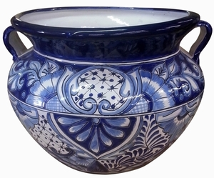 Talavera Michoacana Blue/White - Blue and White hand painted Talavera Mexican fat pot with handles.