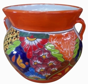 Talavera Michoacana Orange - Orange talavera garden pottery with handles | Made in Mexico for Arizona Pottery.  Shop Now!