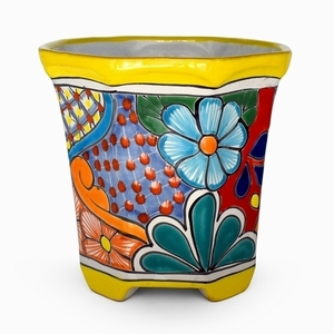 Talavera Octagon Red Rim - Mexican pottery | Hand Painted | Octagon Shaped | Bold Colors