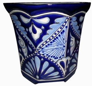 Talavera Octagon Blue/White - Hand painted Talavera | Garden Pottery | Made in Mexico | Bold Colors