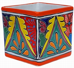 Talavera Cubo Orange - Square Colorful Talavera Flowerpot | Made in Mexico | Arizona Pottery