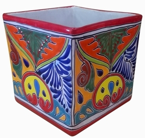 Talavera Cubo Traditional Red - Square Talavera Garden Pot | Hand Painted | Colorful Pottery | Buy Now!