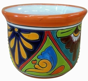 Talavera Flair Tulipan Orange Rim - Tulip Shaped Garden Pottery | Colorful Hand Painted Flowerpot | Talavera