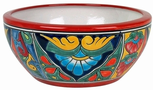 Talavera Half MIchoacana Traditional Red - Made in Mexico | Round Low Bowl Garden Planter | Hand Painted