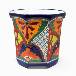 Talavera Octagon Blue Rim - Octagon flowerpot Hand painted from Mexico.  Talavera Garden Pottery.