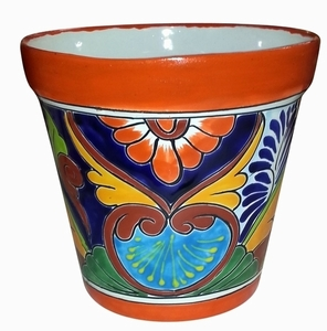 Talavera Vaso Orange Rim - Talavera flowerpot painted by hand | Made in Mexico | Arizona Pottery