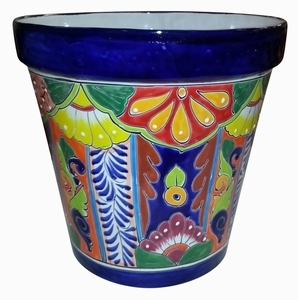 Talavera Vaso Blue - Cobalt blue hand painted Talavera garden planter | Made in Mexico