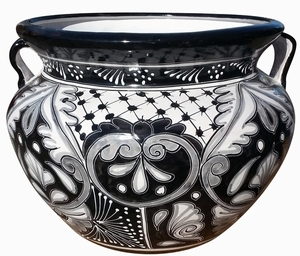 Talavera Michoacana Black/White - Black and White talavera michoacana fat pot with handles |  Made in Mexico