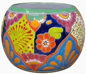 Talavera Round Bule Traditional Green - Round Bowl Flowerpot from Mexico |  Hand Painted Talavera PlantersMexican Talavera Pots, Pottery, Flowerpots, Containers | Garden Planters | Arizona Pottery